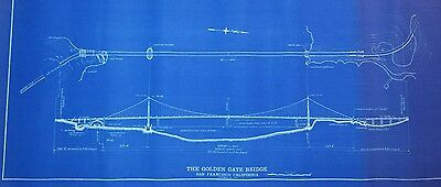 Rare Golden Gate Bridge Authentic Blueprint