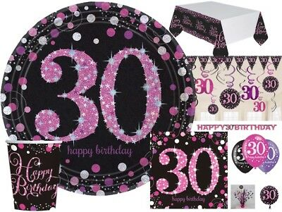 30th PINK & BLACK Celebration Birthday Party Balloons Tableware Decorations