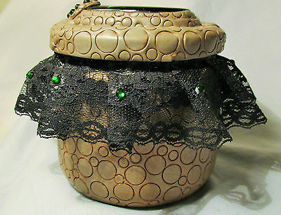 Steampunk Dragon Metal Glass Jar container black lace green stone polymer clay