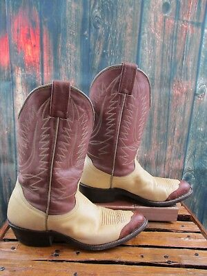 Ladies Nocona Two Tone Brown Lizard Leather Tip Cowboy Western Boots size: 7 B