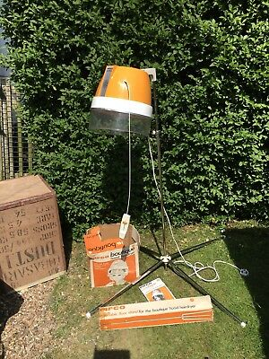 VINTAGE HAIR DRYER Hood Pifco Boutique Orange On Stand Boxed