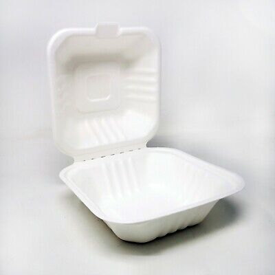 200 x Biodegradable and Compostable Clamshell Bagasse Takeaway Burger Box - 6''