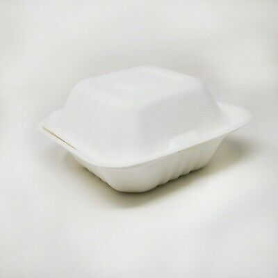 250 x Biodegradable and Compostable Clamshell Bagasse Takeaway Burger Box - 6''