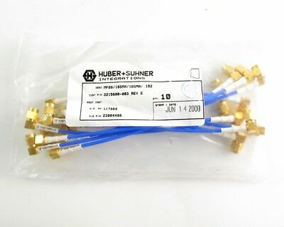 """(10) Flexible Huber+Suhner P/N 23004498 -  RA SMA/Male Plug Cable Assemblies 6"""""""