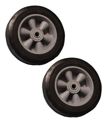 "( 2pc ) 8"" Inch Solid Hard Rubber Tire for Dolly Hand Cart, 5/8"" Axle Hole"