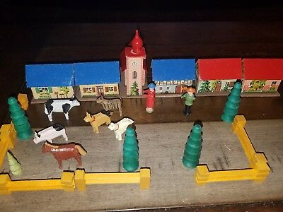 Vintage 25 Miniature Wood Houses Animals trees people Made In Germany (east)