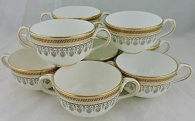 Antique Soup/cream Two Handled Cup Set 10 Cauldon England Greek Key Gold Rim