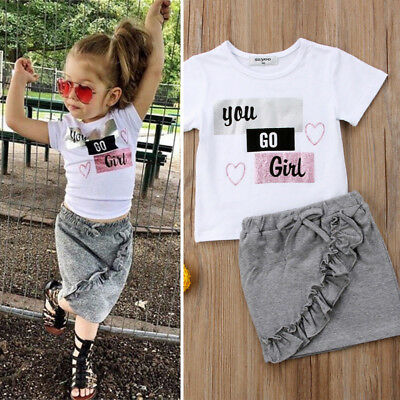 US Cute Toddler Kids Baby Girls Cotton Tops T-shirt Skirt Outfits Casual Clothes