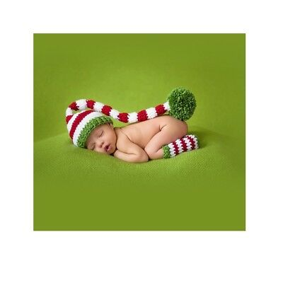 Xmas Cosplay Crochet Knitted Newborn Baby Long Tail Beanie Hat Set Photo Props