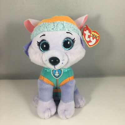 "2018 TY Beanie Baby 6"" Paw Patrol EVEREST Husky Dog Plush w/ MWMT's Heart Tags"
