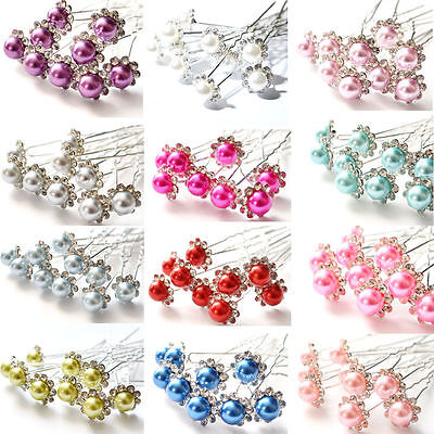 10pcs Bridal Party Wedding Crystal Rhinestone Flower Style Hair Pins 10 Color BT