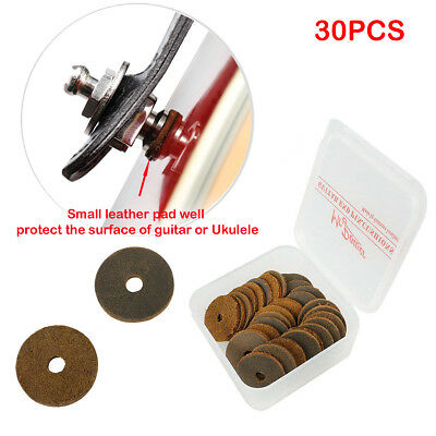 30Pcs Genuine Leather Pad Cushions for Guitar Strap Lock Saver End Pin with Box