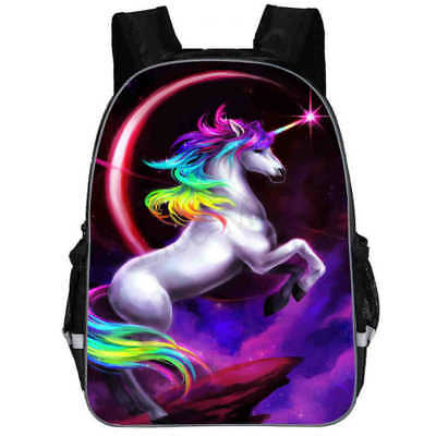 "16""Unicorn Backpack School Bag 3D Magical Rainbow Travel Mochila Christmas Gift"