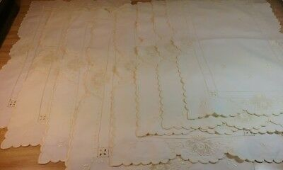 Antique Swiss Appenzell Embroidery Set of 8 White Placemats/Napkins