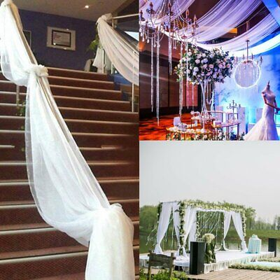 10M 20M 50M Top Table Chair Swags Sheer Organza Fabric Wedding Party DIY Decora