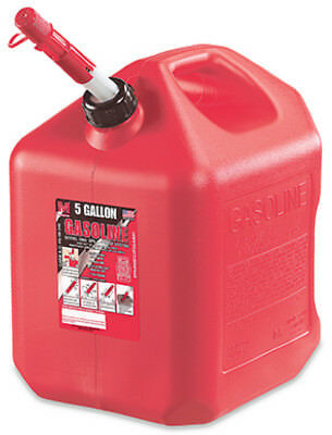 Midwest Can 5600 Poly Gasoline Can with Spill Proof Spout, Red, 5-Gallon