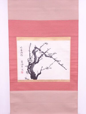 3719533: Japanese Wall Hanging Scroll / Hand Painted / Branch Ume Blossom