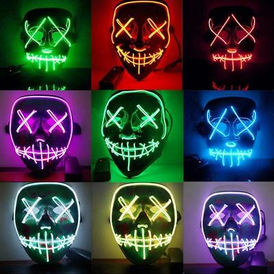 LED Glühend leuchtet Flash EL Wire Horror Party Halloween Maske Kostüm_Cosplay