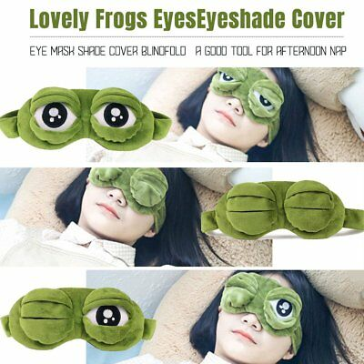 3D Green Frog Travel Sleeping Eye Mask Shade Relax Blindfold Sleep Cover Light A