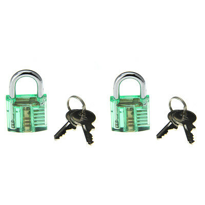 Transparent Green  Inside-View Padlock Lock(2PCS)