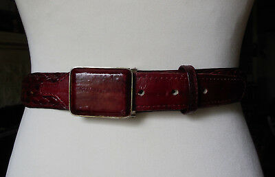 Burgundy leather plaited woven leather belt removable buckle 94-104cm OR SMALLER