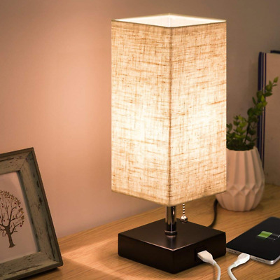 USB Table Lamp Bedside Lamps Wooden Black Base Fabric Shade Nightstand
