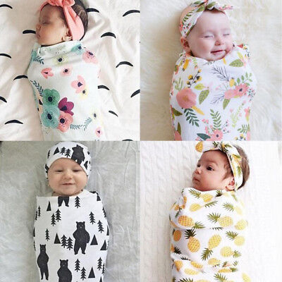 NE_ EG_ HK- Baby Flower Print Swaddle Wrap Blanket Sleeping Bag with Headband