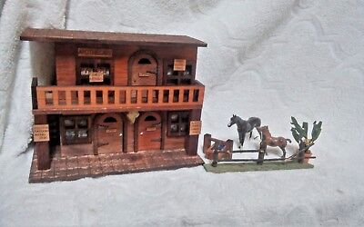 10 Inch Vintage Old West Hand Crafted Wood Merchant Building