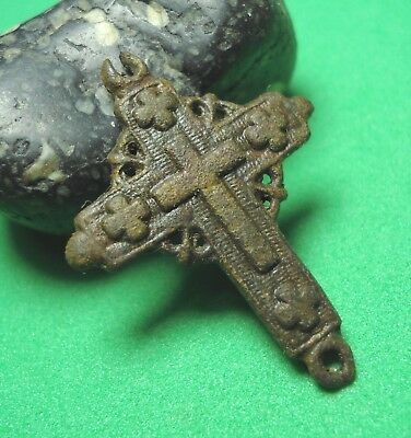 Ancient Bronze Cross Wearable Pendant Antique Rare C78