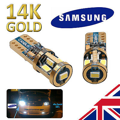 BMW S1000RR SUPER BRIGHT 14K Gold Samsung 501 LED Bulbs Side Canbus W5W T10