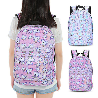 Girl Rainbow 3D Unicorn Printing Backpack School Bag Travel Rucksack 2Colors