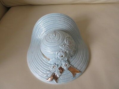 Vintage Art Deco Style Blue Straw Boater Ceramic Wall Pocket