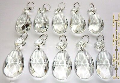 10 Chandelier Drops Glass Crystals Droplets Oval Prisms Wedding Beads Love Charm