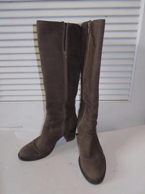 62bbd3f1a3ea3 Womens Bruno Premi Brown Suede Knee-High Boots W/Side Zip Closure Size 38