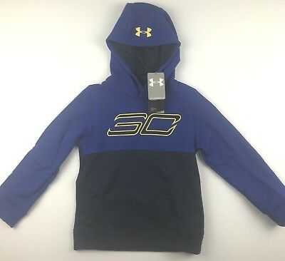 $60 Under Armour Youth Medium Steph Curry SC30 Blue Black Fleece Logo Hoodie NWT