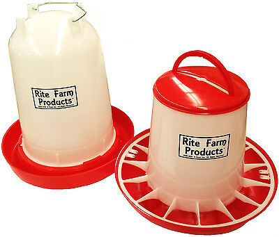 Combo*x-Large Rite Farm Products 3.7 Gal & 20 Lb Waterer &feeder Chicken Poultry