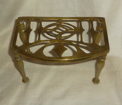 "c1830 Classic GEORGEAN solid BRASS TRIVET - KETTLE STAND - FOOTMAN style 7""x 4"""