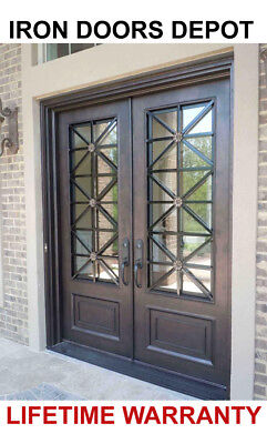 Iron Doors Depot MD023 - Double Front Entry Modern Iron Door with Operable Glass