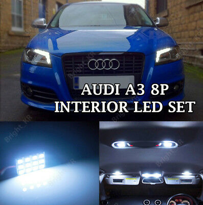 Audi A3 8P 2003+ Complete Ice White Interior Led Light Bulbs Upgrade Set Kit