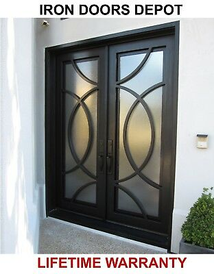 Iron Doors Depot MD019 - Double Front Entry Modern Iron Door with Operable Glass