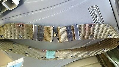 USGI MILITARY LARGE PISTOL BELT w/ BRASS BUCKLES 70's vintage vietnam era