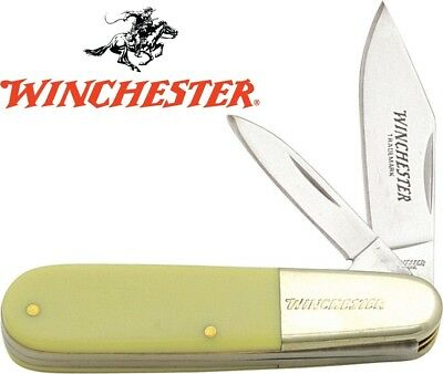 Winchester Barlow Two Blade Pocket Knife - Yellow Delrin Handles - NEW