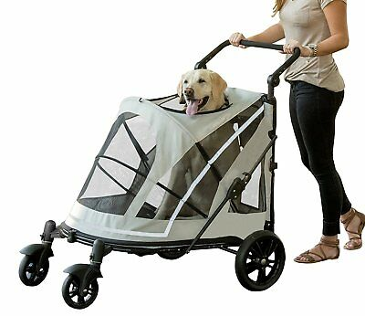 New! Pet Gear No-Zip Expedition Pet Stroller Push Button Entry-Gray PG8850NZFOA