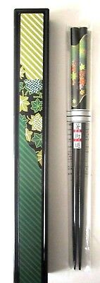 Happy Sales Japanese Lacquer Chopsticks w/Travel Case Beautiful Grn/Gold New!