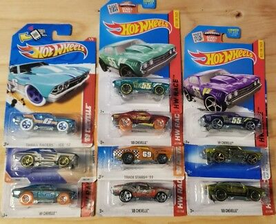 Hot Wheels '69 Chevelle lot of 10 cars mixed years New on card Chevy Chevrolet