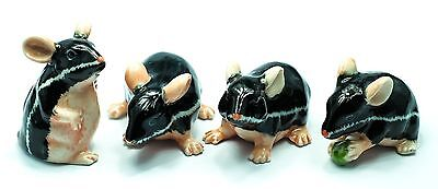 Figurine Animal Ceramic Statue Miniature 4 Black Rat Mouse Mice - CCK006