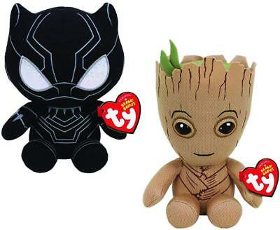 "Set of 2 Ty 2018 Beanie Baby Boo's 6"" Black Panther & Groot Marvel Plush MWMT's"
