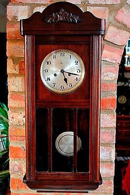 Vintage German Oak 8-Day Wall Clock with Chimes