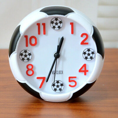 QA_ Football Pattern Alarm Desk Stand Clock for Home Room Kitchen Office Affor