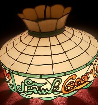 Vintage Drink Coca Cola Tiffany Style Stained Hanging Lamp Coke